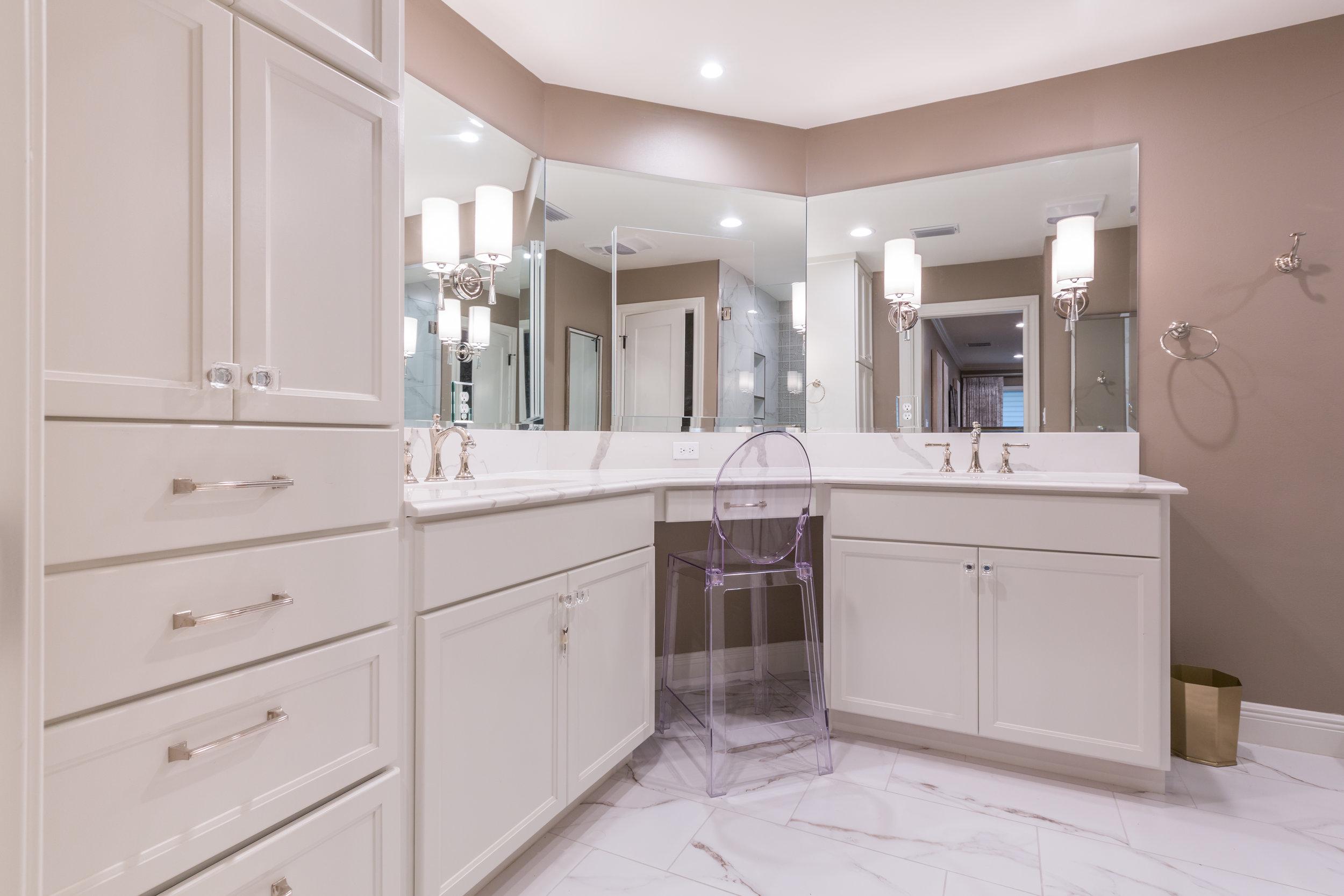 Custom cabinetry in renovated austin condo master bathroom