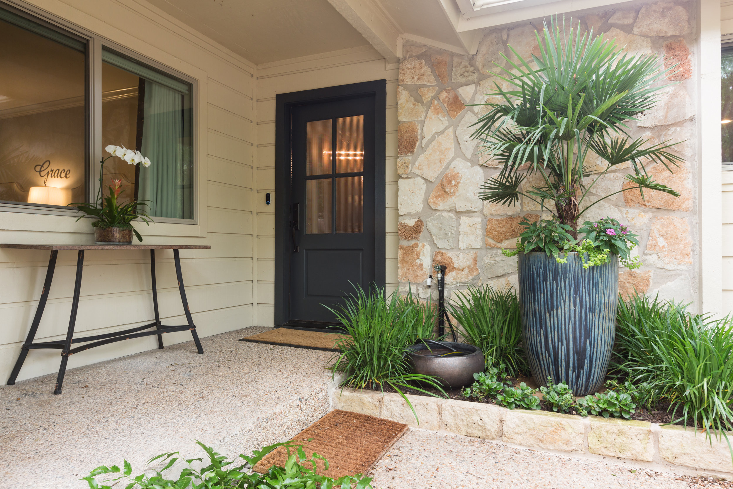 New landscaping exterior of central austin condo remodel project