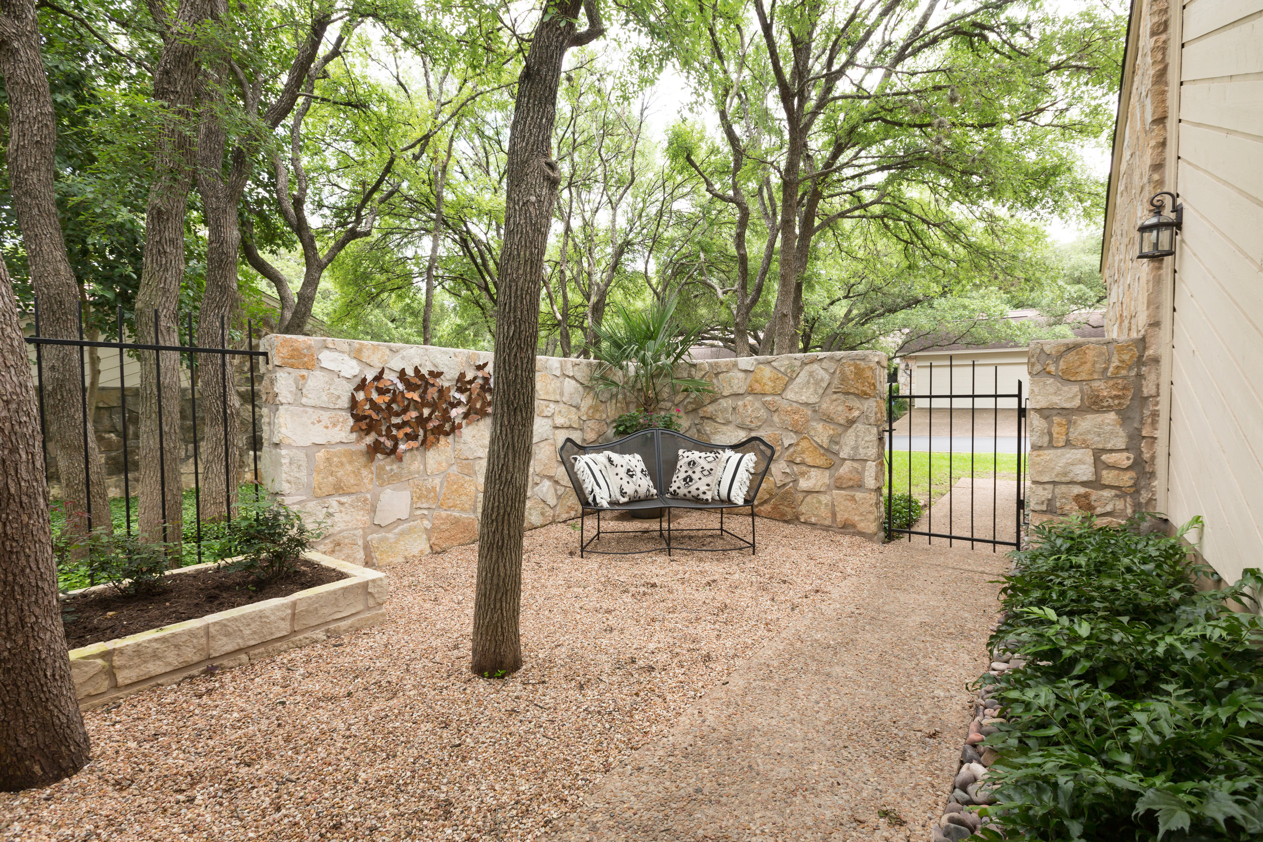 Beautiful gated condo front yard landscape design