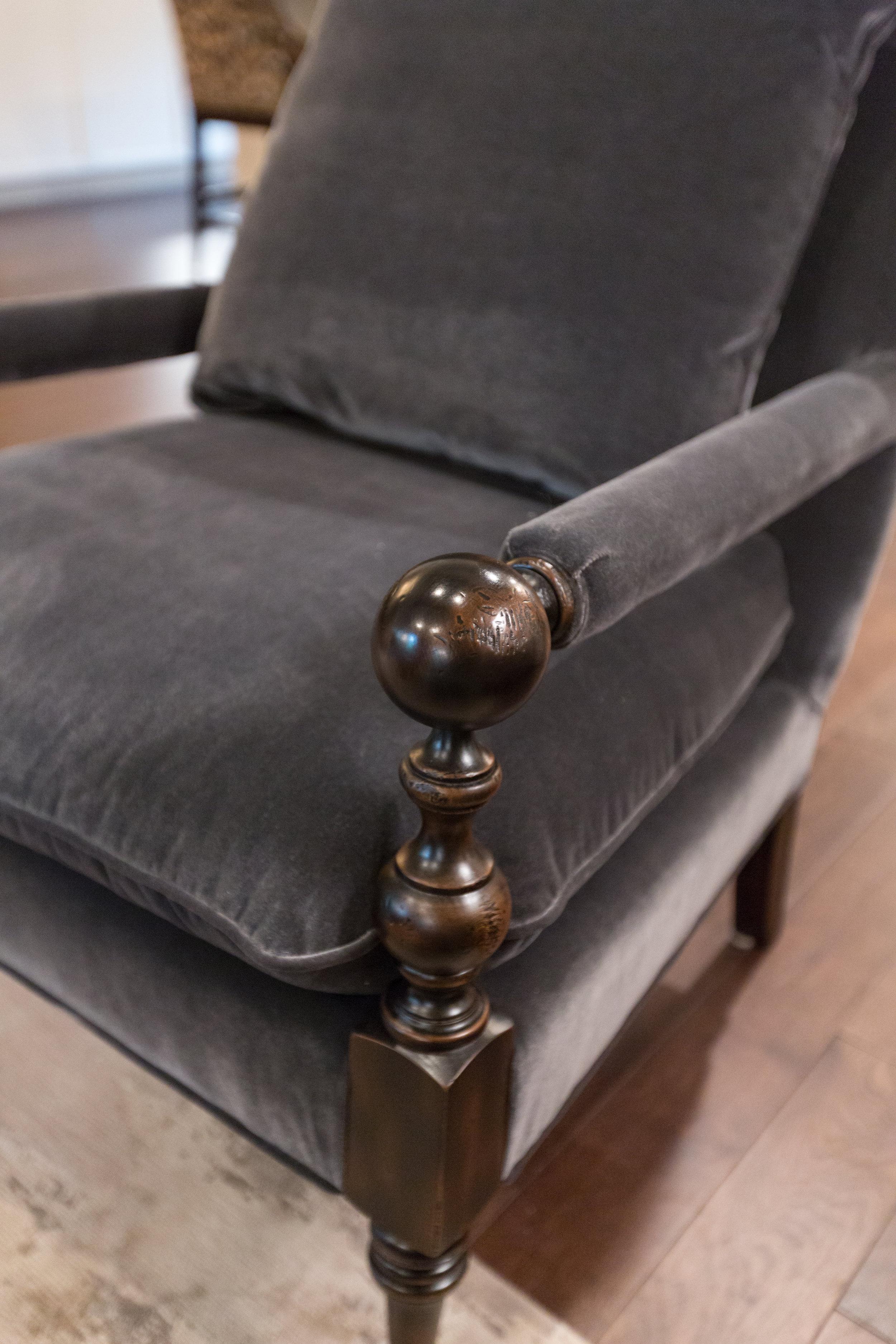 Designer Chair with Blue Velvet