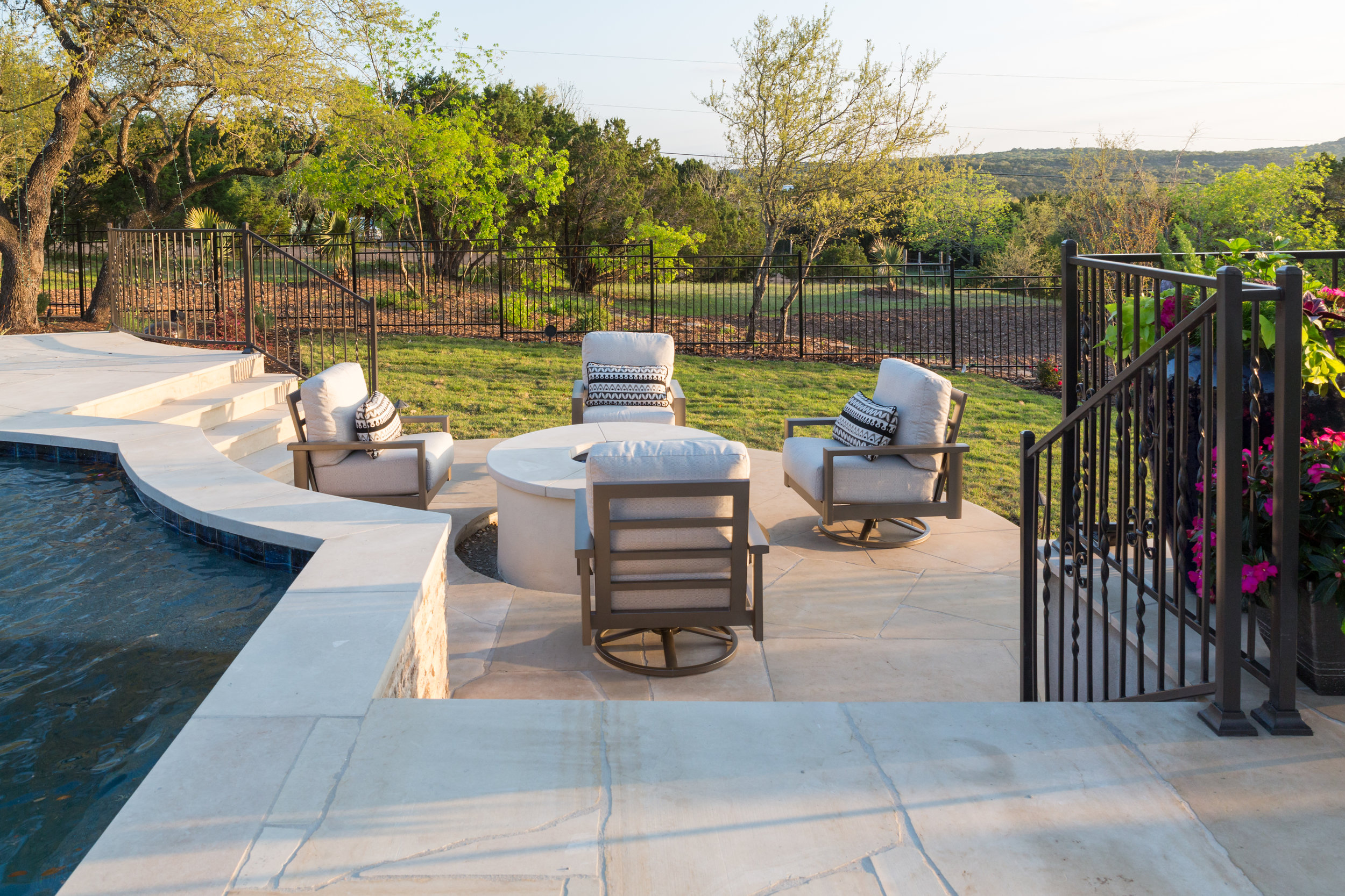 Firepit with Poolside Seating