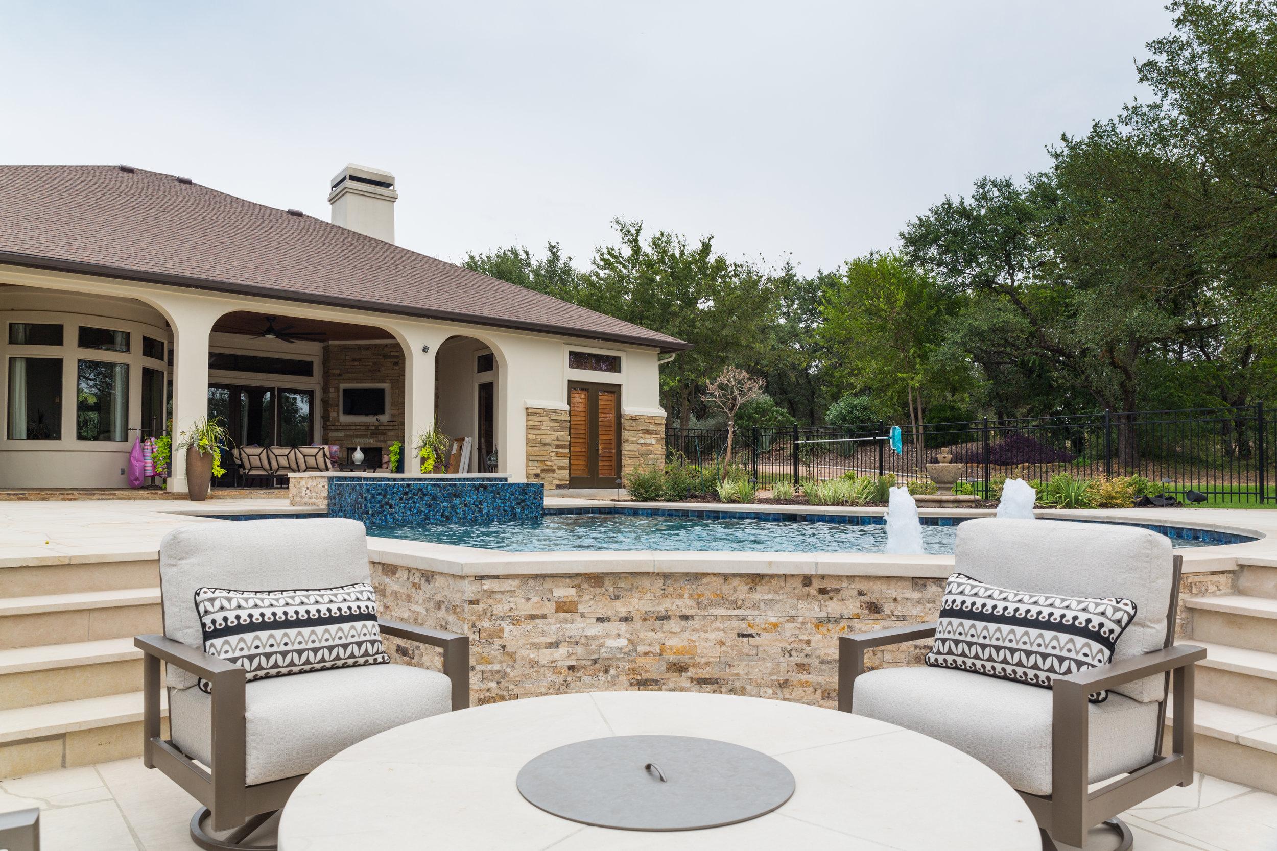 Backyard Pool and Seating Area