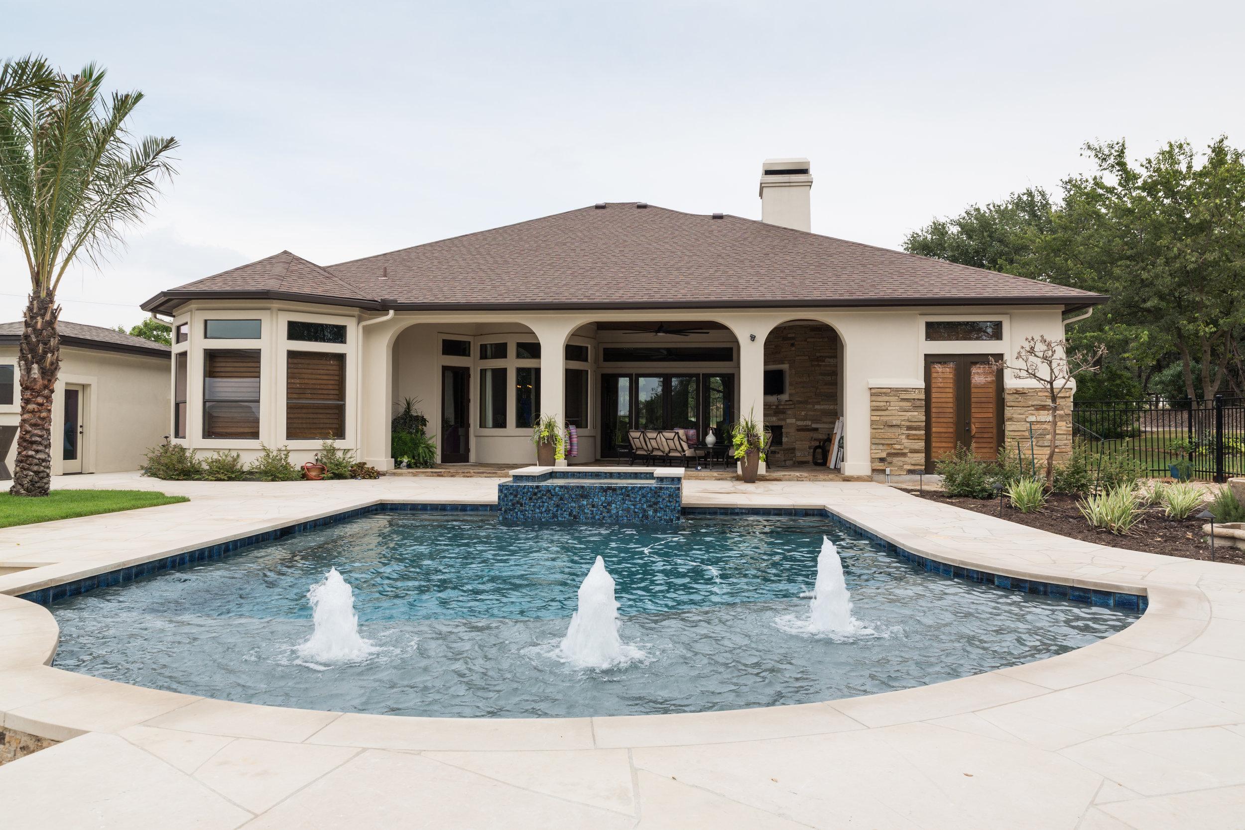Backyard Pool with Hot Tub