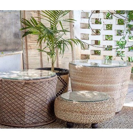 Adding to our table collection: Cream Drum Table (back right), Binga Drum Table (left) and Pouffe (front right). These additions to your home add a beautiful touch of Africa.  #africandrumtable #interiors #africaninspired #africa #coffeetables #stylingideas #handmade #homewares #uniquedesign #africanartisans #weaving #countryliving #coastalliving #africancraft