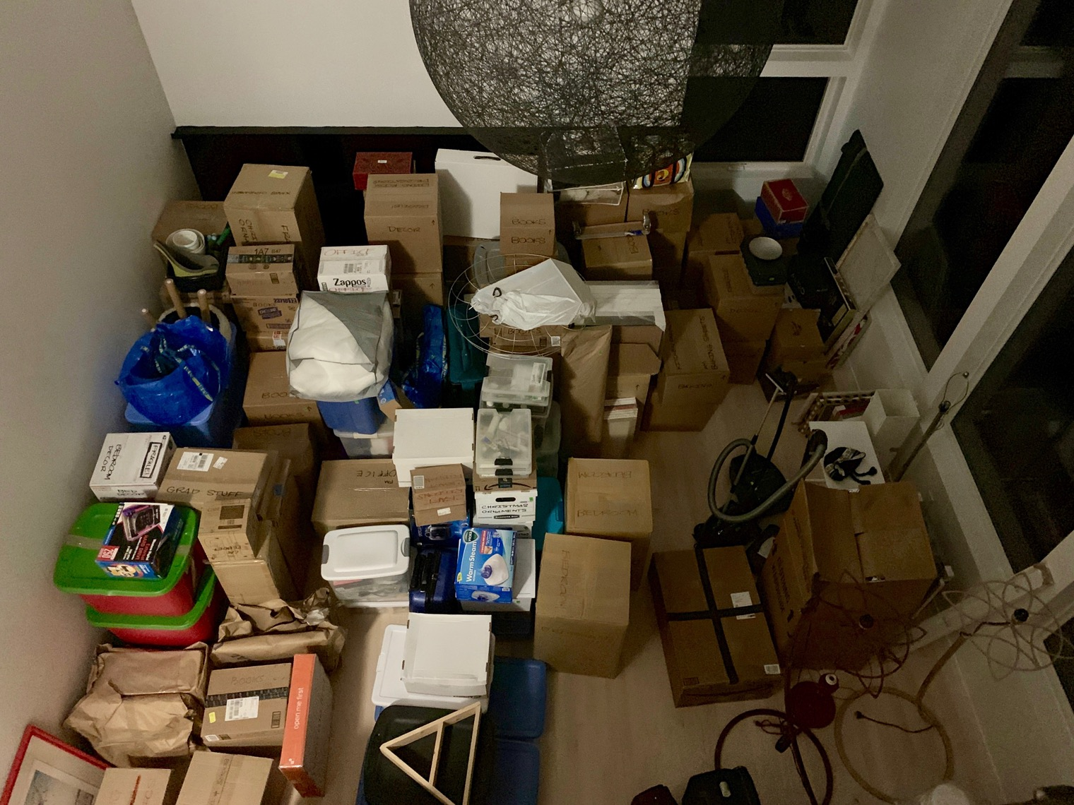 Move-in night… I think this was about 50% of all the boxes and stuff we had. We still have to deal with recycling all these flattened boxes… IT. NEVER. ENDS.