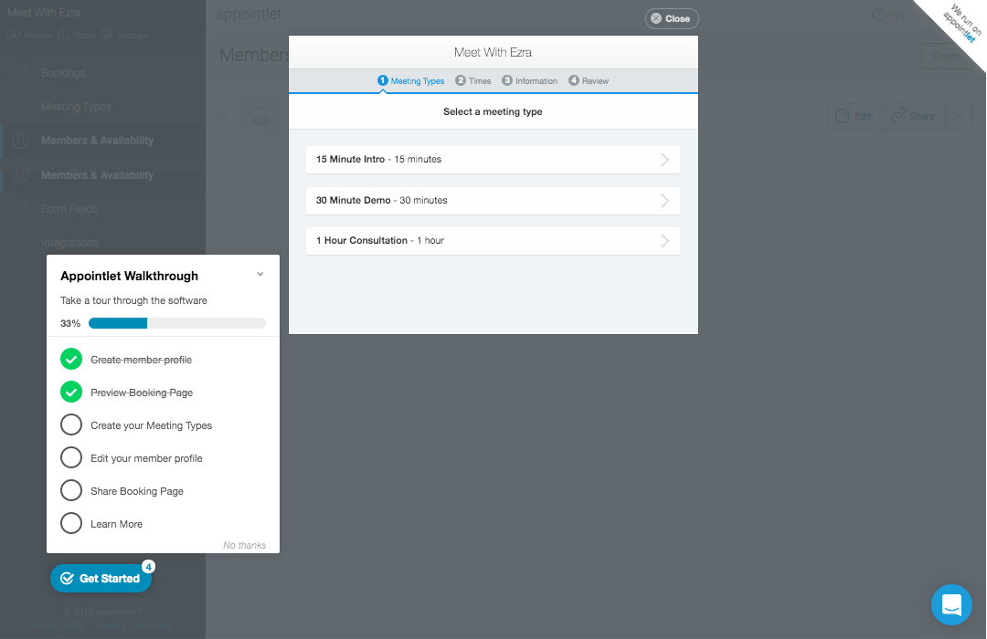 Appcues: Product Walkthroughs - To improve user onboarding at our scheduling company, I designed a product walkthrough experience that doubled our conversion rate and reduced redundant support tickets.