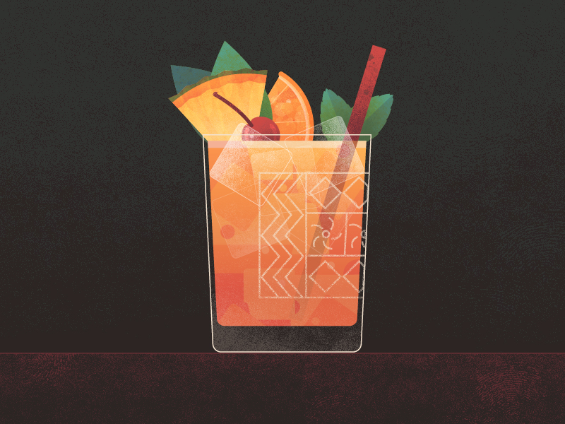 Mai Tai Cocktail Illustration