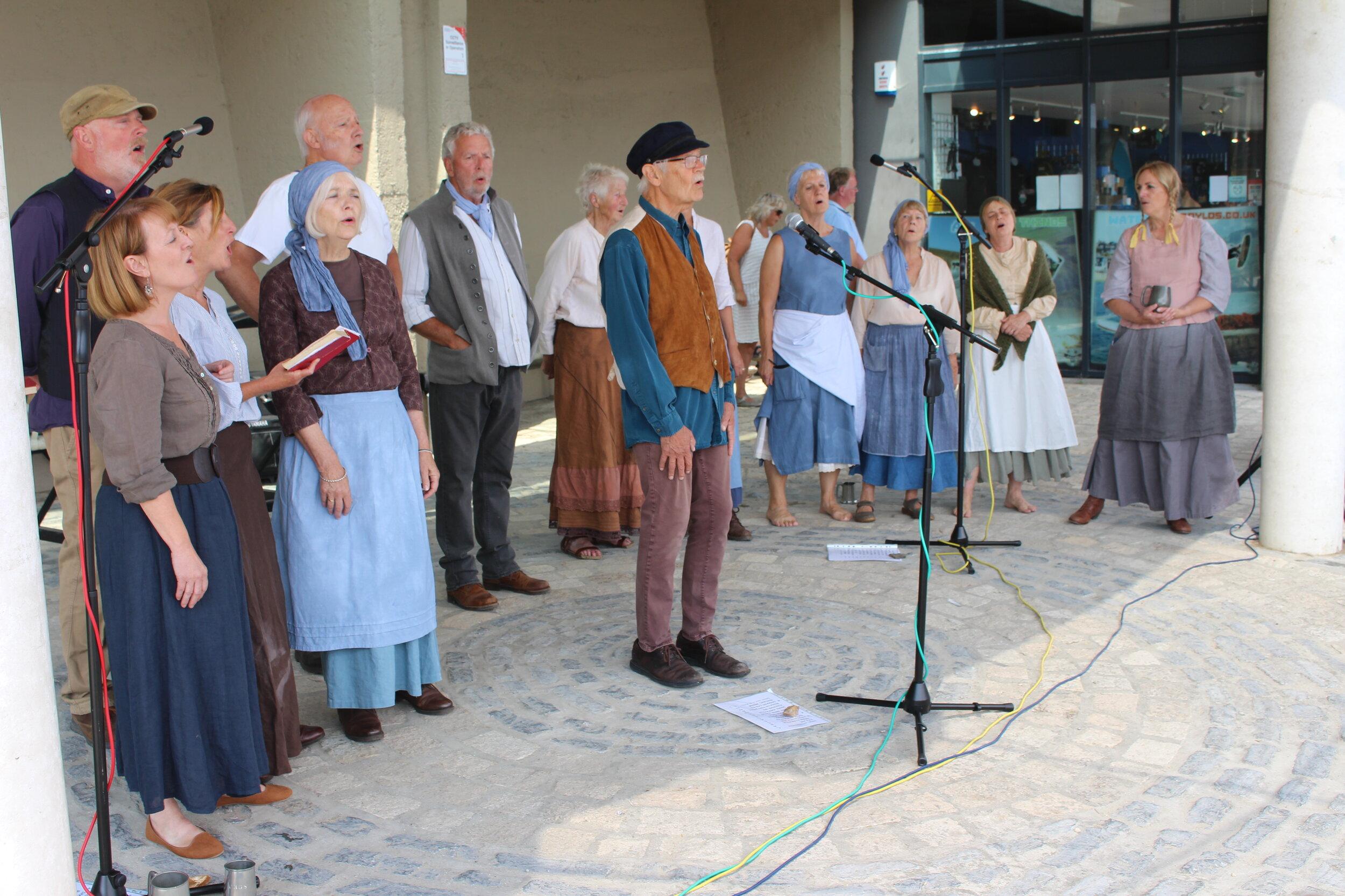 Singing at the Lyme Regis Folk Festival 2019