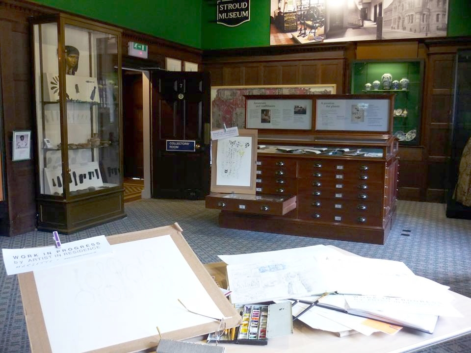 Working in the collections room.