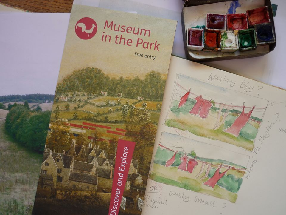 Initial ideas for painting Stroud Scarlet, red cloths in a landscape.