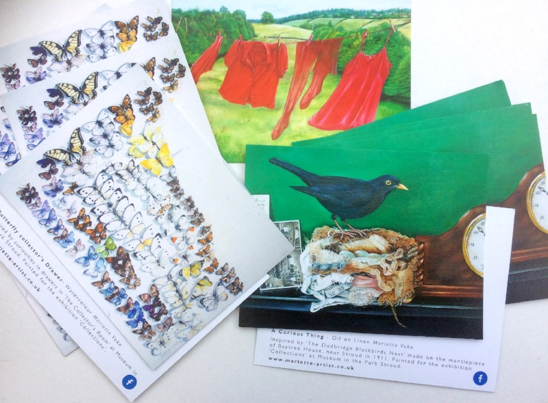 postcards produced for sale in the museum shop.