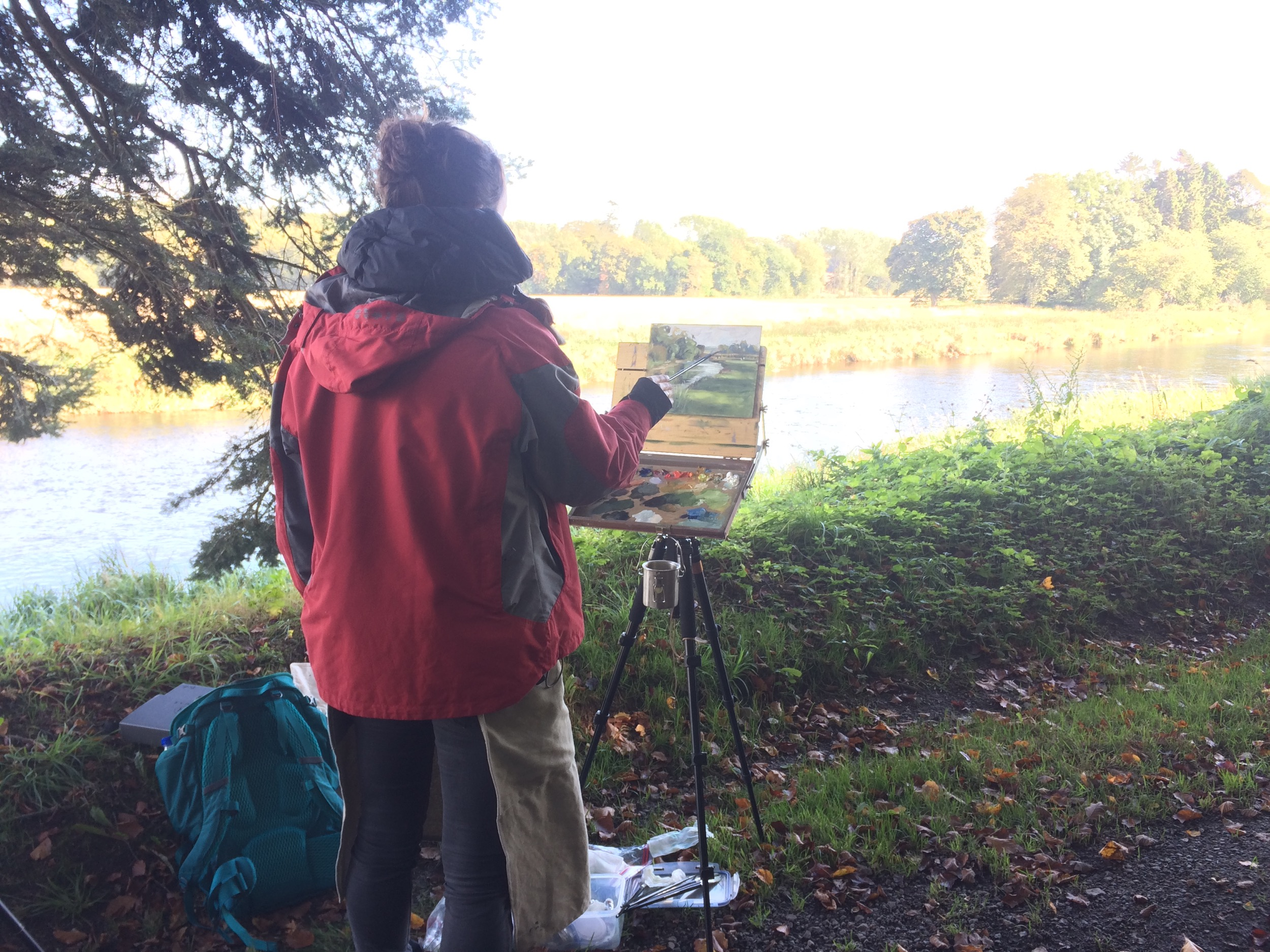 Plein air  painting on Monymusk Estate, Aberdeenshire. Photograph courtesy of Valérie Pirlot.