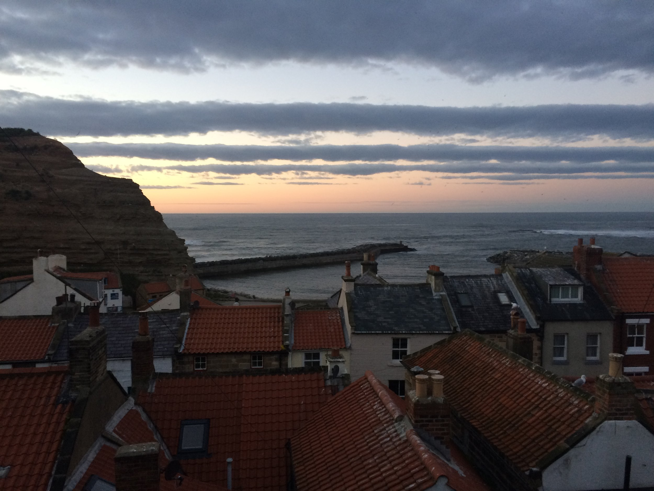Sunset over Staithes on the Summer solstice.