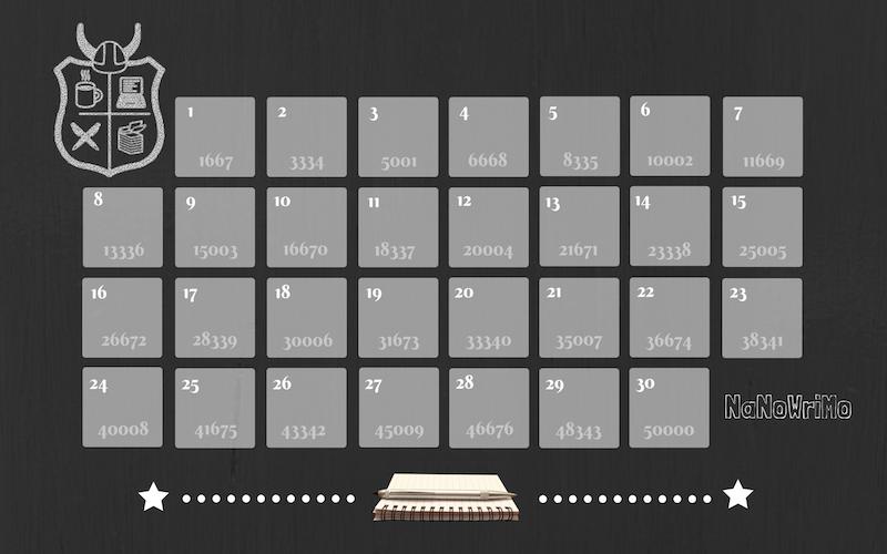 NaNoWriMo Calendar with Wordcount -