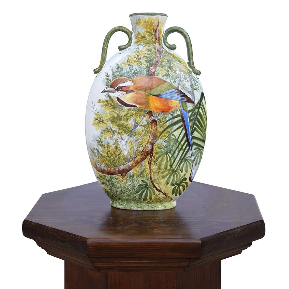 Vaso grande con uccello tropicale.jpg