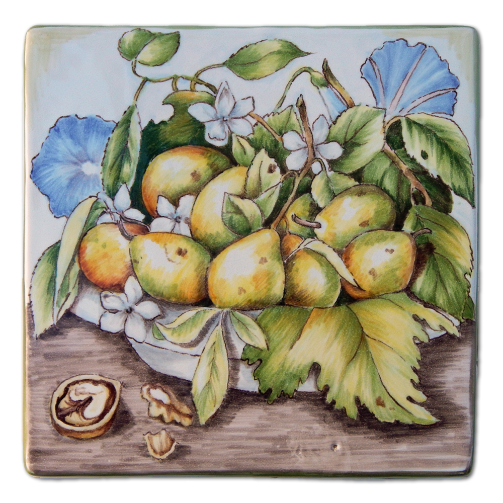 """""""Plums on a plate with jasmines and walnut"""" – Box moulded by hand (top lid view) Measurements: 15.5x15.5 cm. High-fire (920 °C)"""