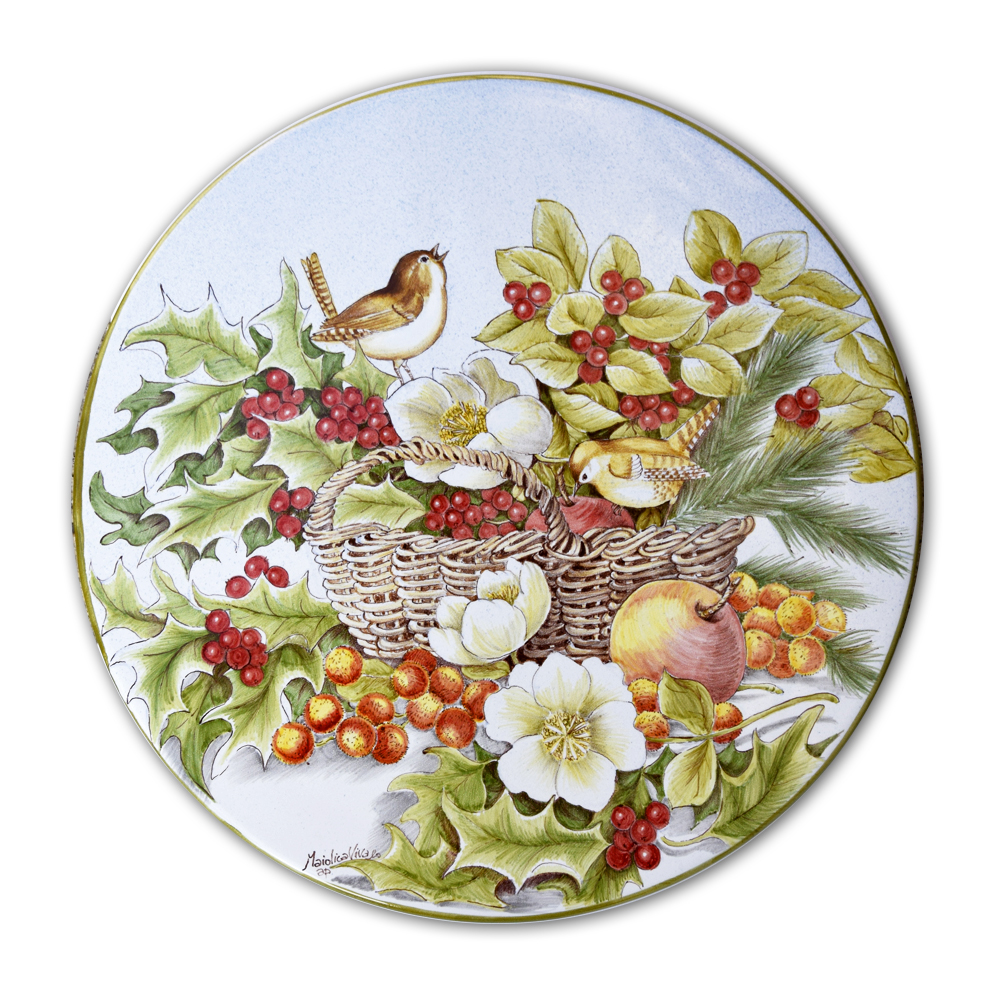 Cake dish depicting a basket with holly, berries, flowers and birdie – Measurements: Ø 34 cm. – High-fire (920 °C)