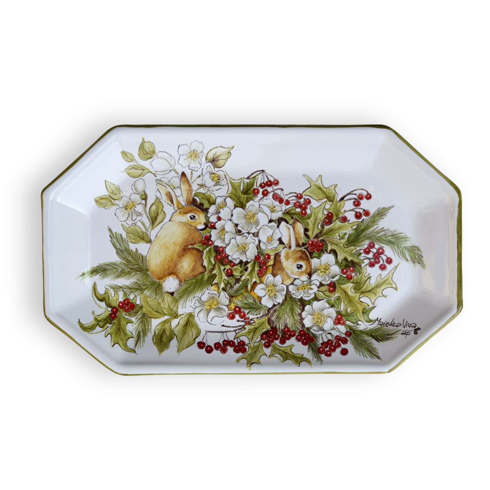 Small tray with bunnies Measurements: 27x16,5 cm. – High-Fire (920 °C)