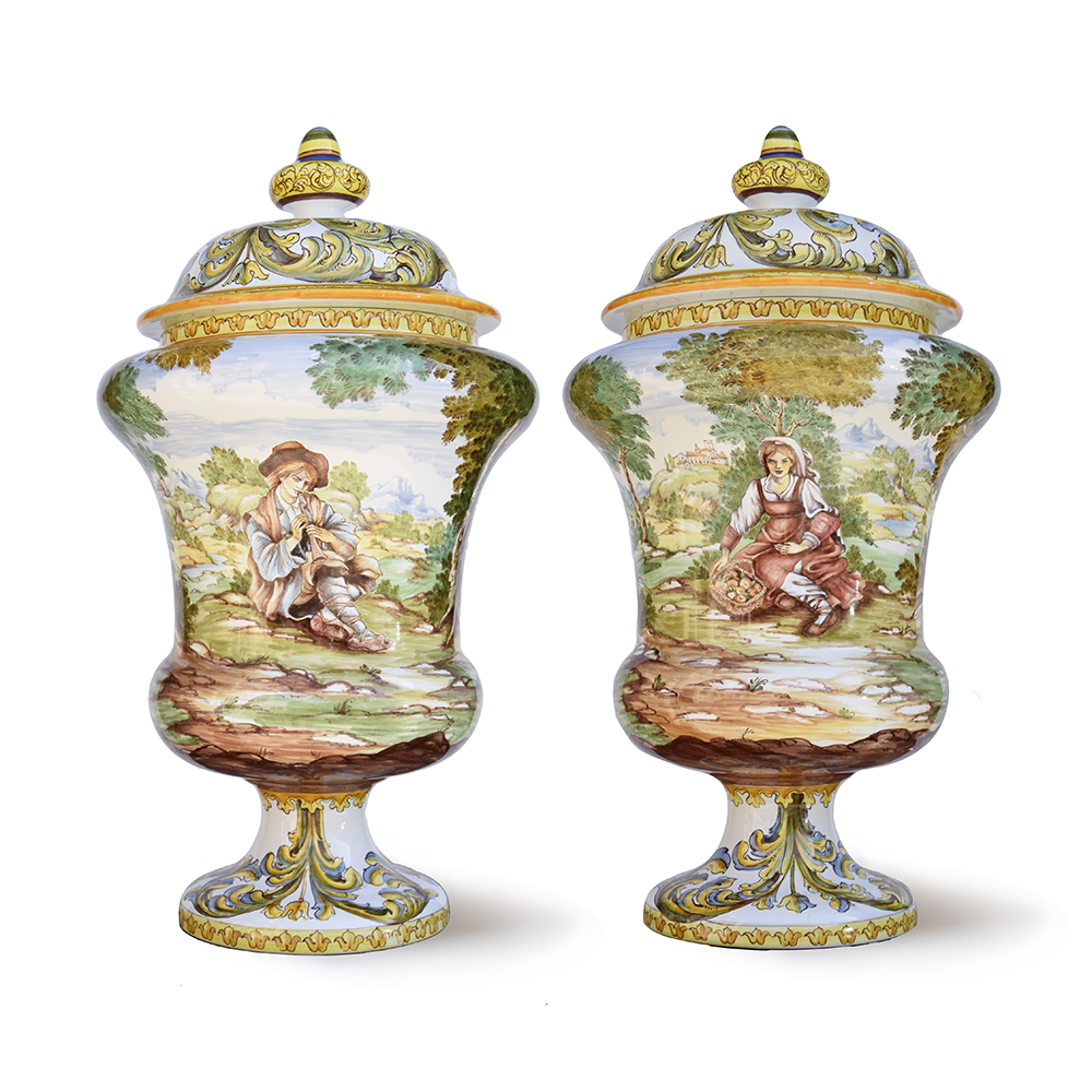 Albarello with landscape and figures (front and back view) – Height cm. 40 – High-fire Majolica (920 °C), lead-free glazing