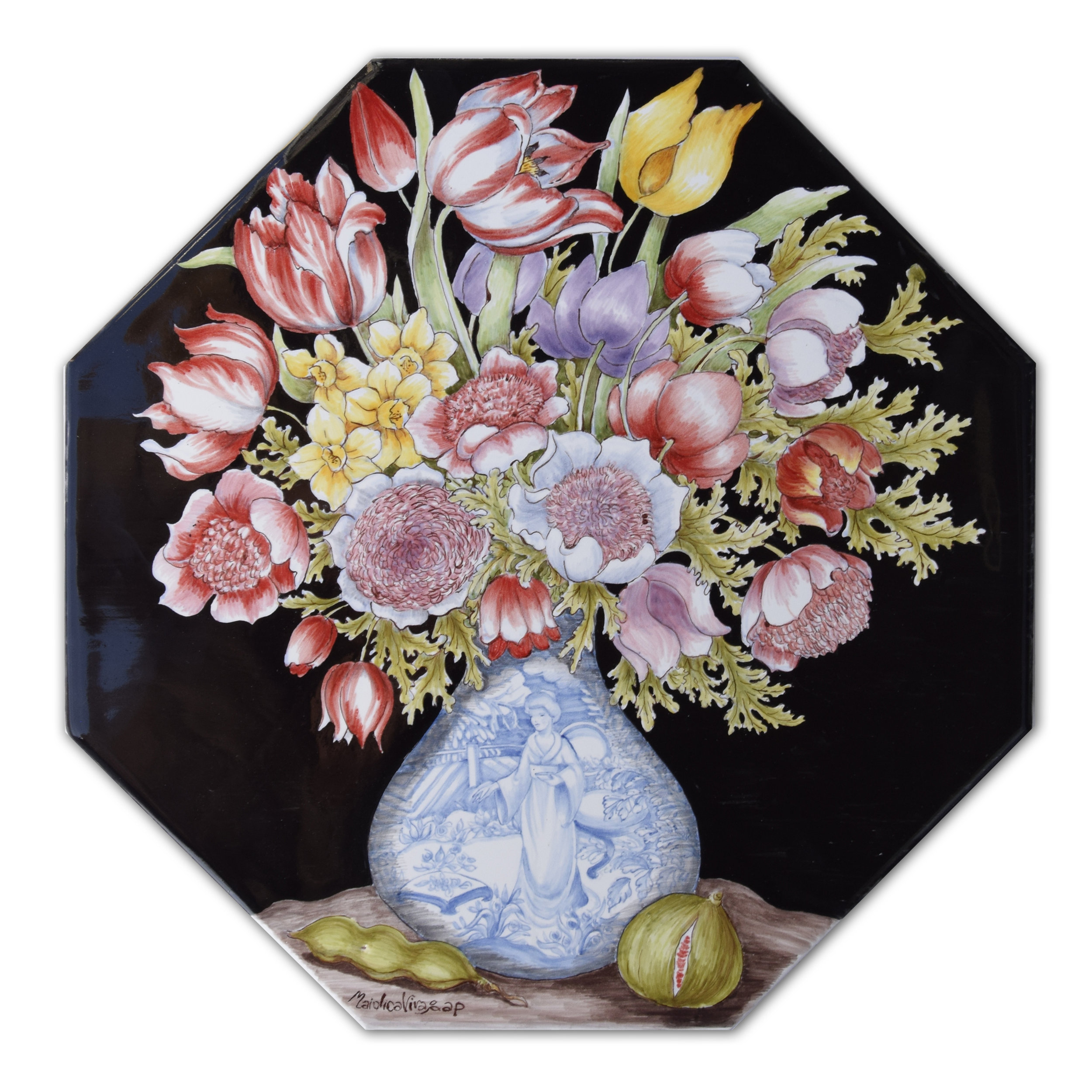 """""""Porcelain vase with flowers and fruits"""" (Homage to Giovanna Garzoni)"""" – cm 33x33 – High-fire (920 °C)"""