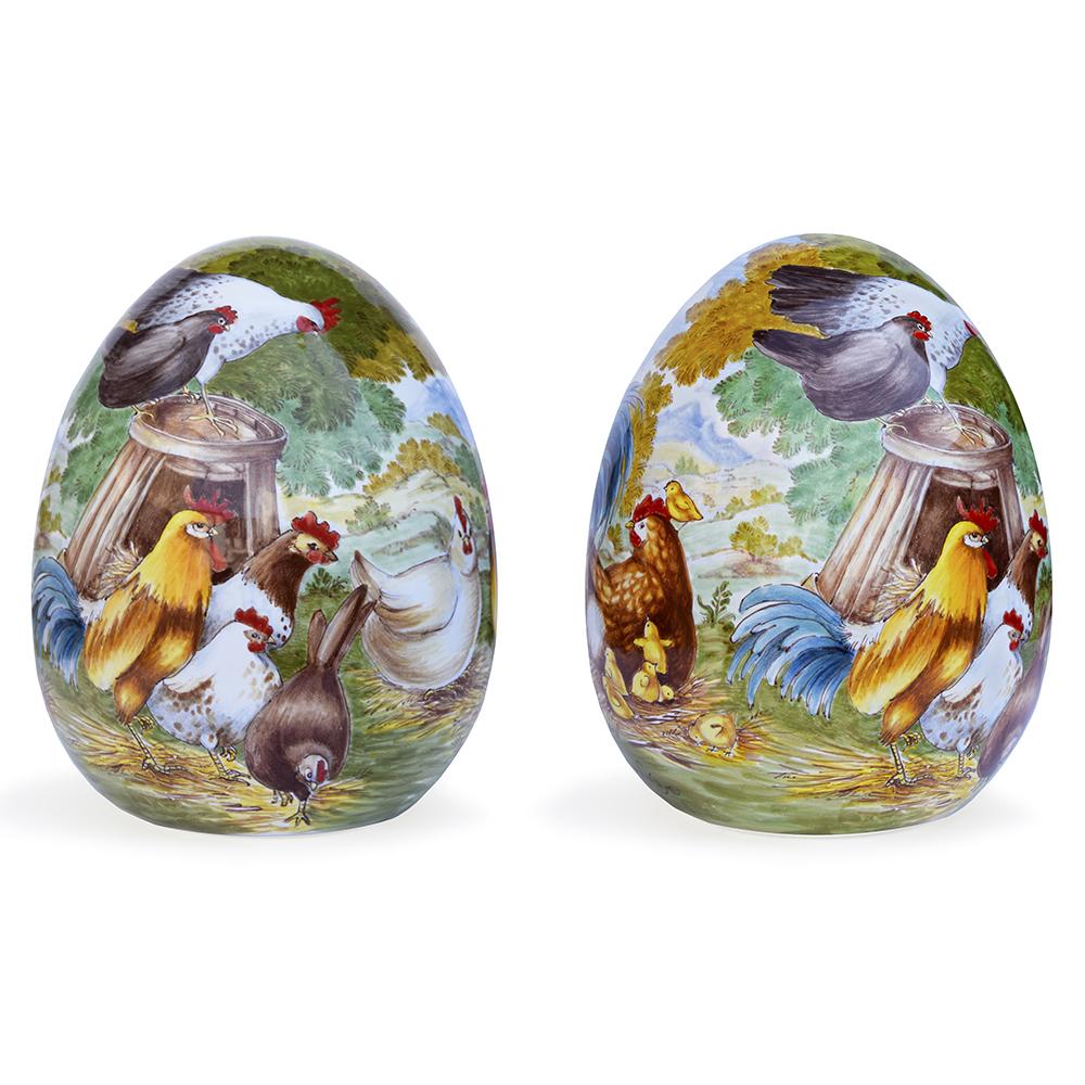 Uovo decorativo – Motivo: Galli e galline