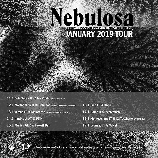 @pomperipossarecords act NEBULOSA AKA @joelfabiansson is going on tour. You better not miss !