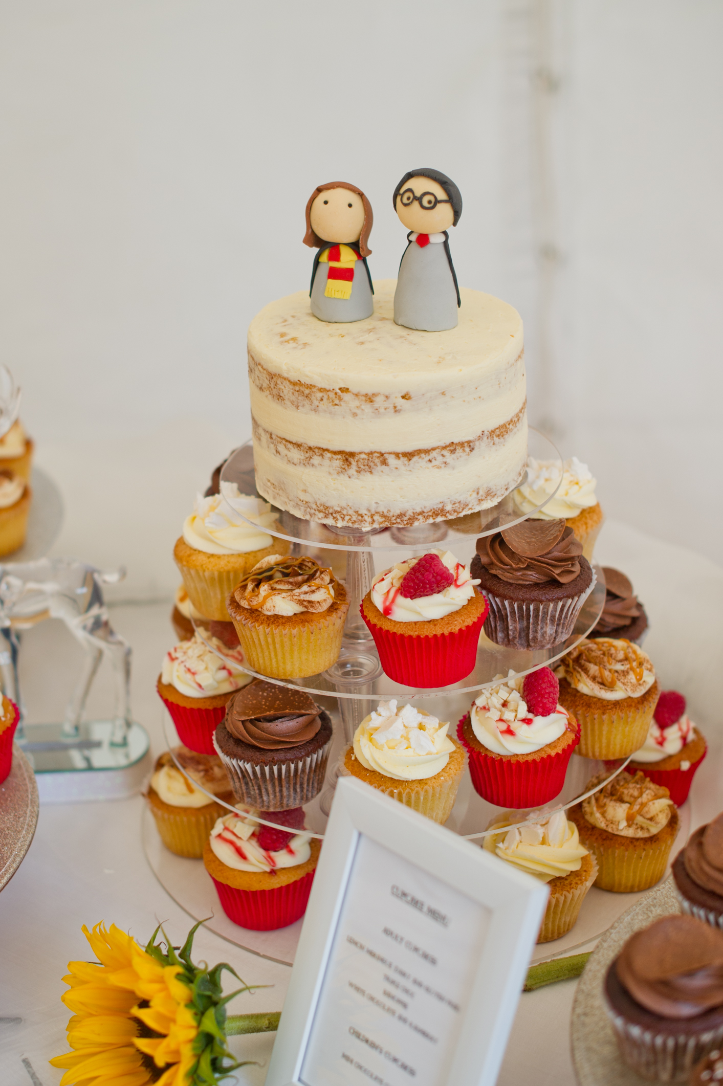 Harry Potter wedding cake. Loads of attention to detail in Katy and Duncan's wedding.