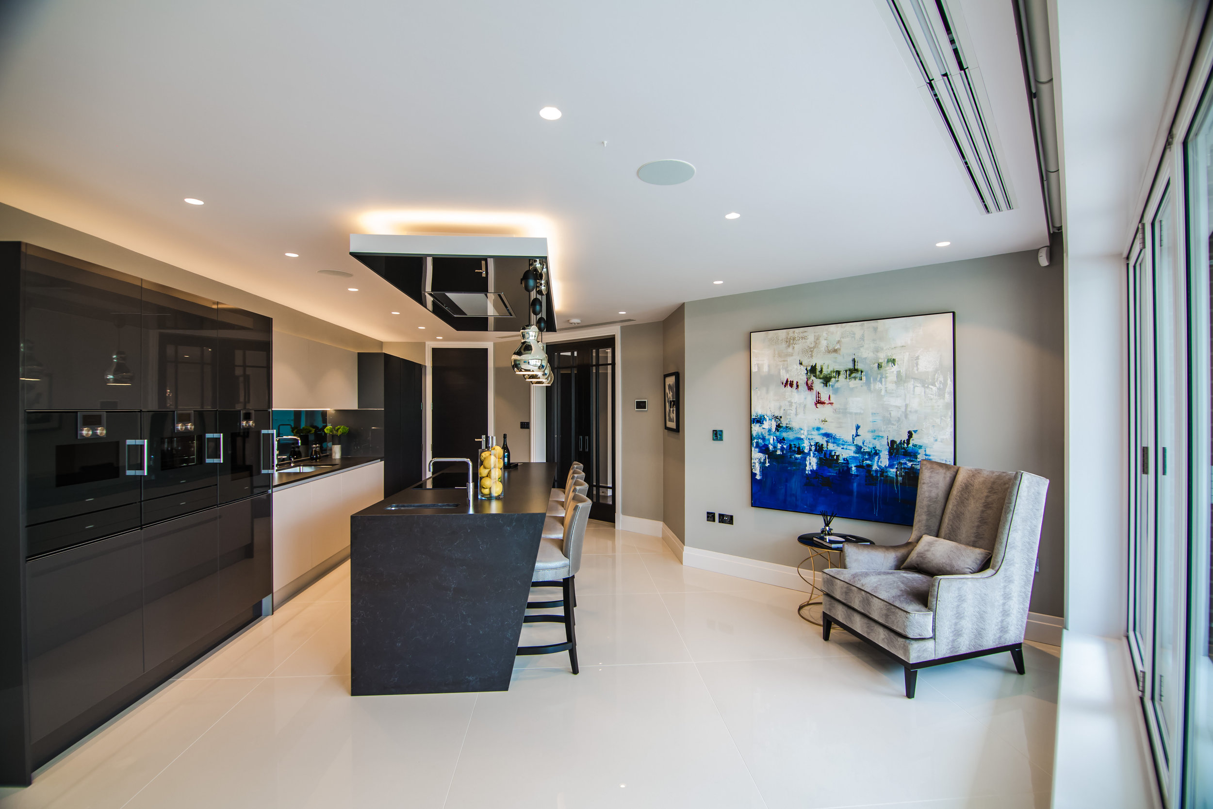 The striking kitchen in the show apartment at Miram House.jpg