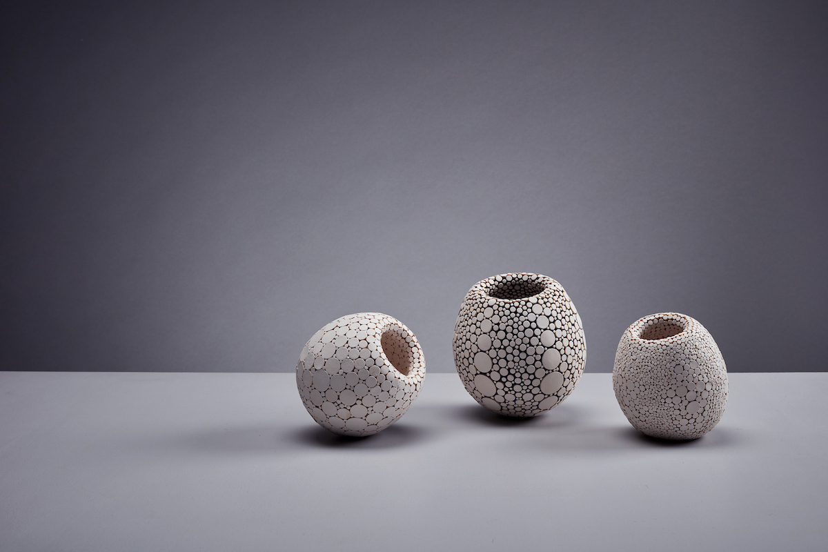 SPECIMEN No. 02 , SPECIMEN No. 03 & SPECIMEN No. 04  Date of Creation : 2017  Material : Italian leather & clay  Process : Hand sculpted Clay vessel decorated with Leather discs.   ALL SOLD  separately to Private Collectors, London 2019