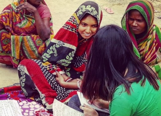 Interviewing women in the Musahar community, Nepal