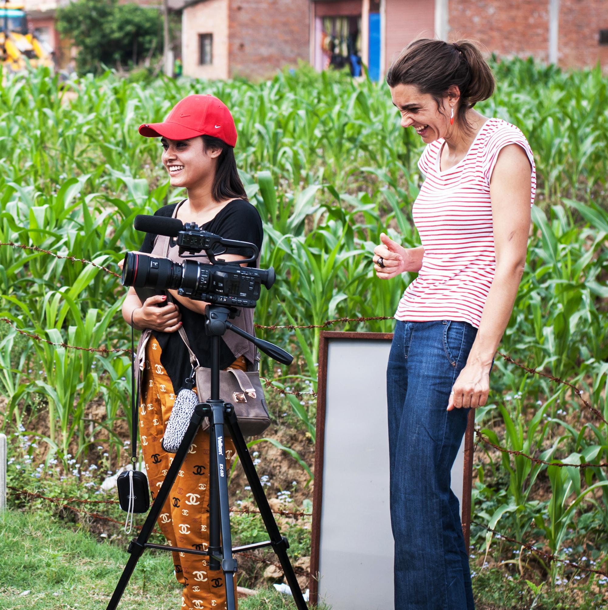 Filming in rural Nepal