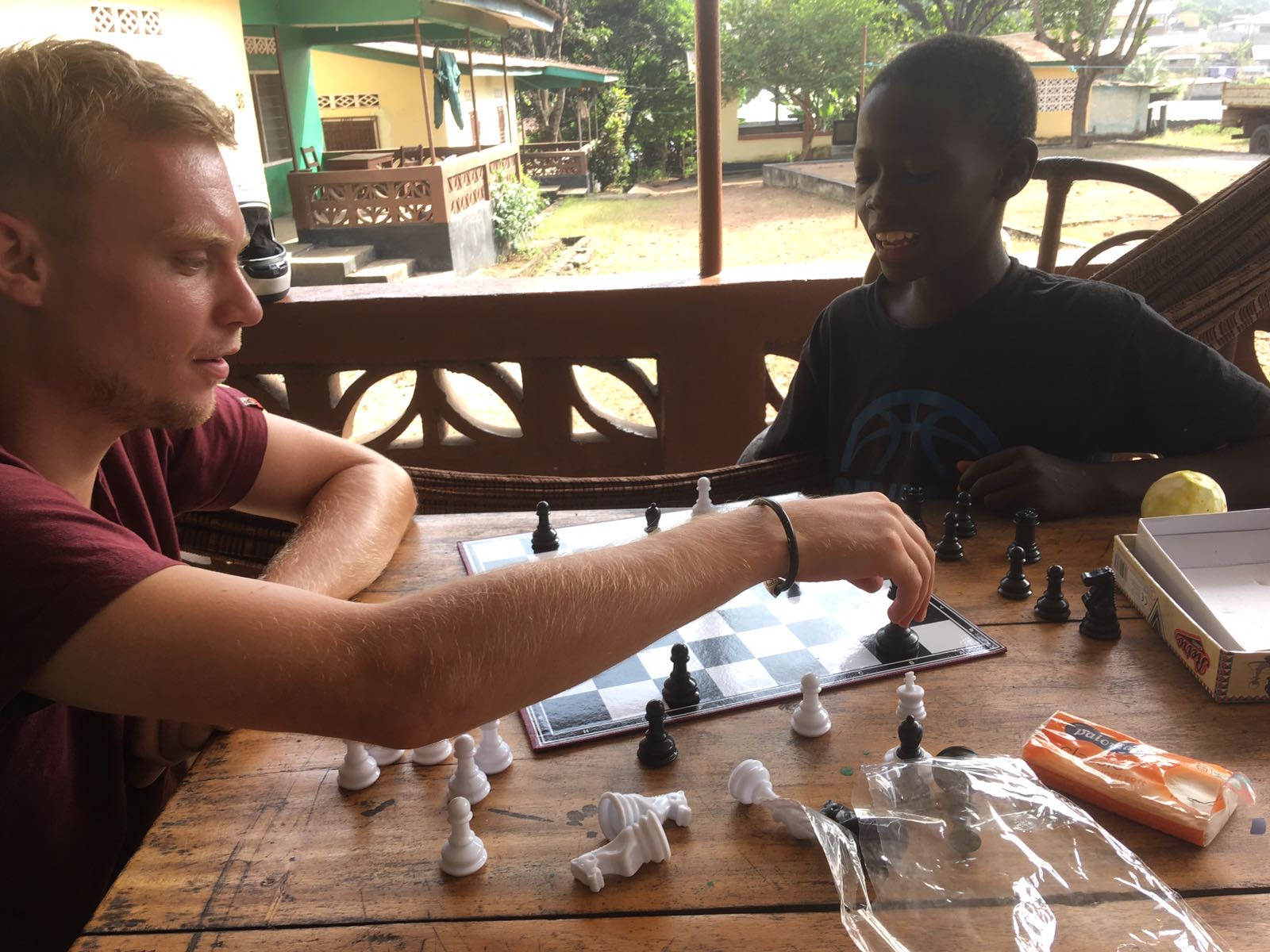 Evening chess match in Makeni, Sierra Leone