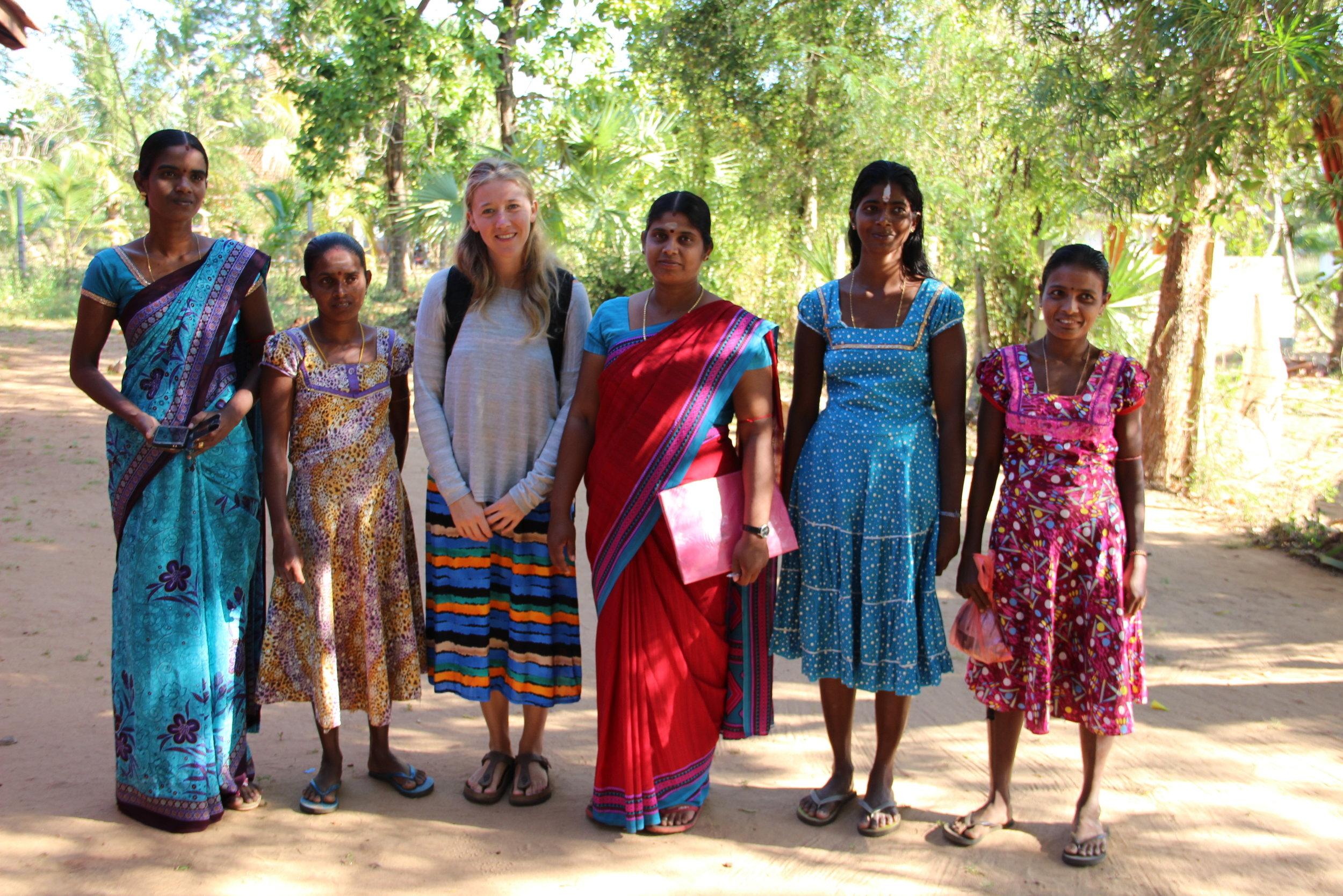 Alyssa and teachers at Santhiveli preschool.jpg