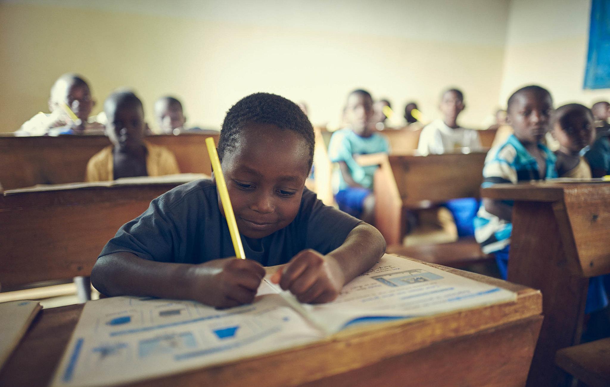 Kid in school, Sierra Leone