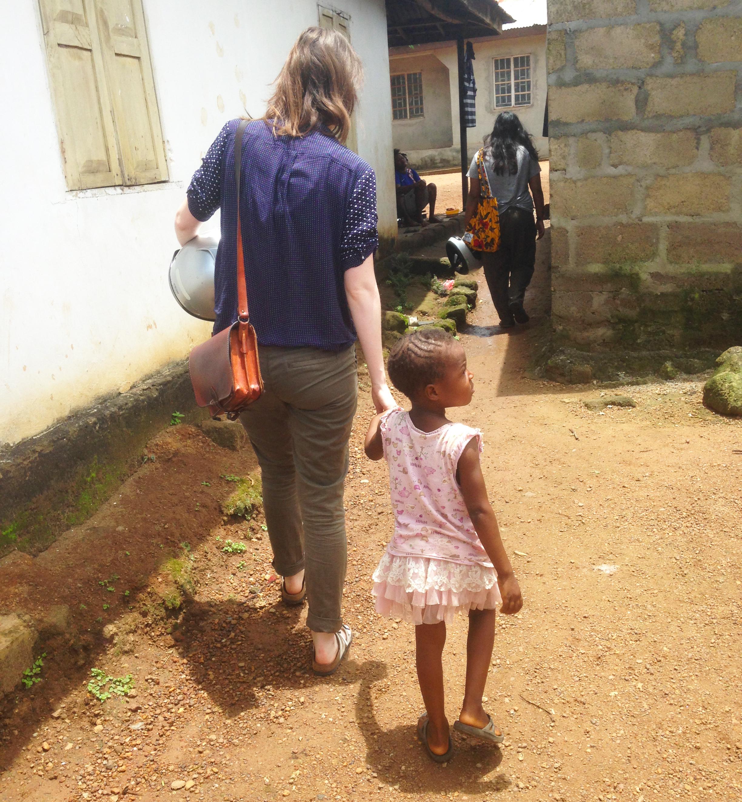 Jo and girl in Makeni, Sierra Leone