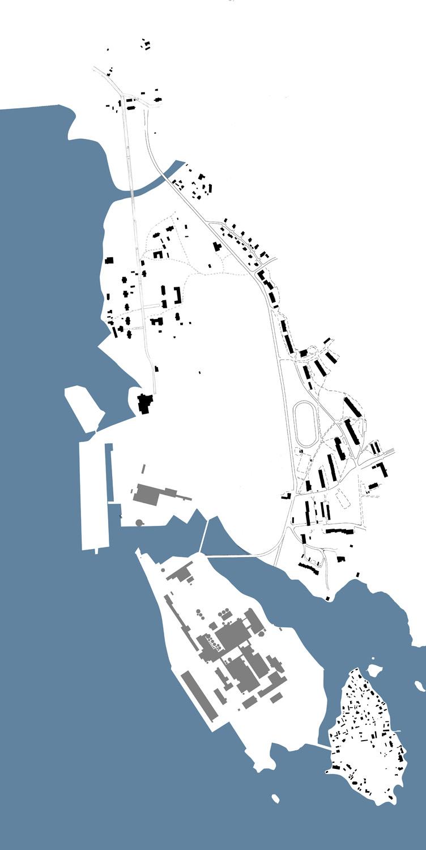 Sunilan asuinalue suurimmillaan noin 1950-luvun lopulla. vanha sunila on edelleen täydessä käytössä ja uuden sunilan viimeisetkin talot on rakennettu. Tehdas on esitetty viitteellisesti.