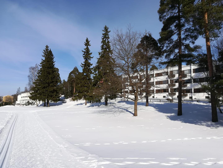 Hiihtolatu kulkee kentän ympäri EKAn kerrostalojen ohi kuva Noora Kiili.jpg