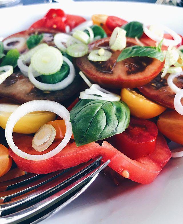 Diese Farben�. In letzter Zeit habe ich wieder eine richtige Tomatensalat-Phase�. Vermutlich, weil sie gerade Saison haben und auch nach etwas schmecken. Wer kennts?😅 . . . #tomatensalat #tomaten #tomatensaison #tomatoes #salad #summersalad #sommergericht #foodie #foodgasm #foodblog #foodblogsschweiz #swissfoodblogger #swissblogger #foodphotograhy #foodpho #foodporn #healthyfood #cleanfood #vegan #eatclean