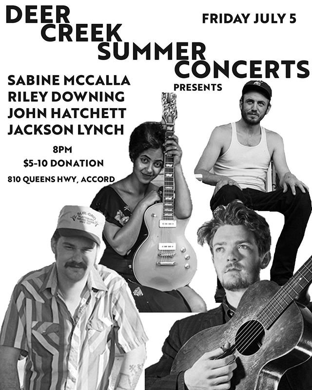Come on over to the farm for our second concert this summer. We've got more great musicians from far & wide coming to bring us another special night of music. Sabine McCalla (NOLA) @sabinenthedewdrops, Riley Downing (MO) @rileydown, John Hatchett (NOLA), and Jackson Lynch (NYC/NOLA) playing high quality acoustic country / folk / blues.  B.Y.O Refreshments, and $5-10 donation for the musicians.