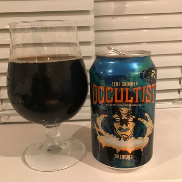 Semi-Skimmed Occultist - Oatmeal Stout 8% //BrewDog - The last dark beer I had from BrewDog (Self-Assembly Pope) was a bit of a mis-fire so I was a bit dubious about this one. However, an oatmeal stout is right up my street compared to a coconut porter and this made up for it in spades.Smooth mouthfeel and wonderful aromas of chocolate, vanilla and a hint of coffee. Opulent!