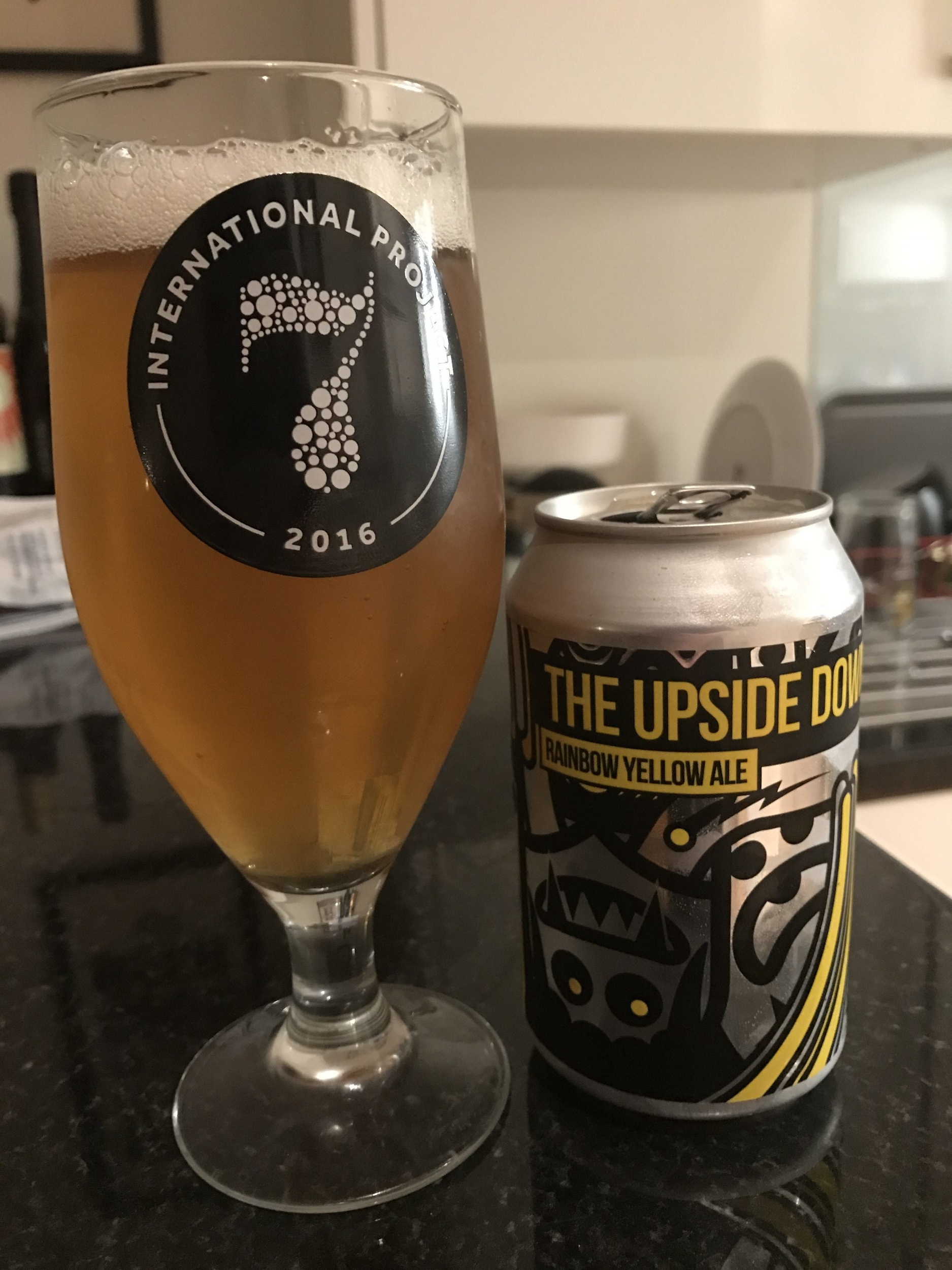 """The Upside Down – Kettle-Soured, Tropical Fruit-Witbier 6% //Magic Rock x Fork Brewing - What the booklet says:We were delighted to be drawn with Fork Brewing of Wellington headed up by our friend Kelly Ryan (ex Thornbridge / Fyne Ales), Nick met with Kelly and CBC and a plan was hatched to deliver as much fruity, spicy, hoppy, mouth filling (and reminiscently yellow) pleasure as possible.The beer starts with a complex malt bill featuring our usual Golden Promise base malt but also a large proportion of Wheat, Rye and Oats. It's then kettle soured to a PH of 3.6 using a pure lactic strain. Coriander and Tumeric were added into the boil to add zest, spices and colour and Citra and Equinox hops added to the whirlpool to add tropical flavours to the body of the beer.The beer was then wholly fermented with 'Brett Trois' a recently re-classified Saccharomyces strain originally thought to be Brettanomyces and """"used traditionally for wild yeast-like fermentations, producing a slightly tart beer with delicate characteristics of mango and pineapple"""".During (and post) fermentation the beer was then dry hopped with more Citra and Equinox as well as Mosaic and Simcoe to deliver a deeply tropical hop aroma and flavour augmented by the addition of both passionfruit and mango juice.Expectations:Thankfully nothing to do with the other Upside Down- no Demogorgons were used in the brewing of this beer. I did spot the dreaded C word (coriander) which is nearly as frightening but hopefully the other flavours can mask it.Reality:First of all, I have to say that, like all Magic Rock beer, I absolutely love the can art for this beer. Secondly, I'm happy that I can't really detect too much coriander here. The beer itself smells pretty horrific so I was pleasantly surprised that it tastes pretty good. The fruity mango aftertaste really lifts the beer and masks the 6% ABV.I often struggle a little with witbiers as a style and find most of them to taste very similar so I'm glad this one doesn"""