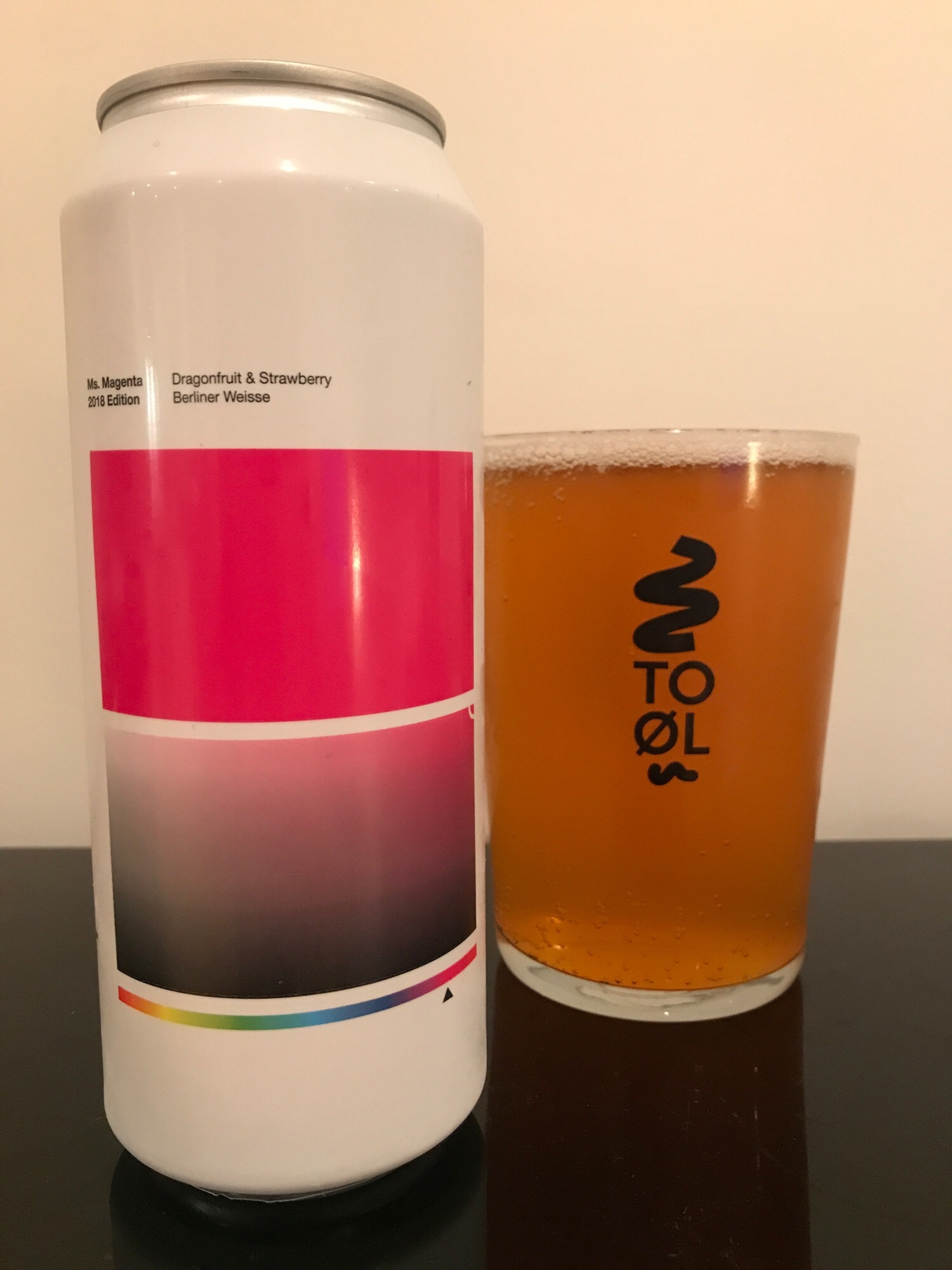 Ms. Magenta // Dragonfruit & Strawberry Berliner Weisse 4.5% - Expectations: I once went on a kid's rollercoaster ride as a teenager that was shaped like a dragon. It was alarmingly quick for a child's ride. So much so, it made me break out into an uncontrollable laughing fit at the sheer ridiculousness of the juxtaposition of a kid's rollercoaster being THAT fast. Anyway, I'm hoping this beer made with dragonfruit stirs up similar emotions. Giggling like a teenage boy at this delightful sounding beer. I'm all about a fruity, tart berliner weisse so am well up for this. Failing that, I'll have to go back to Alton Towers.Reality: Most berliner weisse beers tend to have a pretty unpleasant smell. Not as bad as some sours but it has that slight sulphur smell to it. This beer, however, has zero aroma. Maybe it being straight out of the fridge has resulted in the aroma being dulled but it's just vanished. I was a little perturbed and worried but I needn't have been because this is very, very good.I'm not really sure what a dragonfruit tastes like but I am getting alllll the strawberry here. It's initially a bit tart but then the finish is lovely and sweet and I've just noticed I've chinned half the can in double quick time. This hasn't stirred up the same reaction as the aforementioned rollercoaster but it's certainly put a smile on my face.