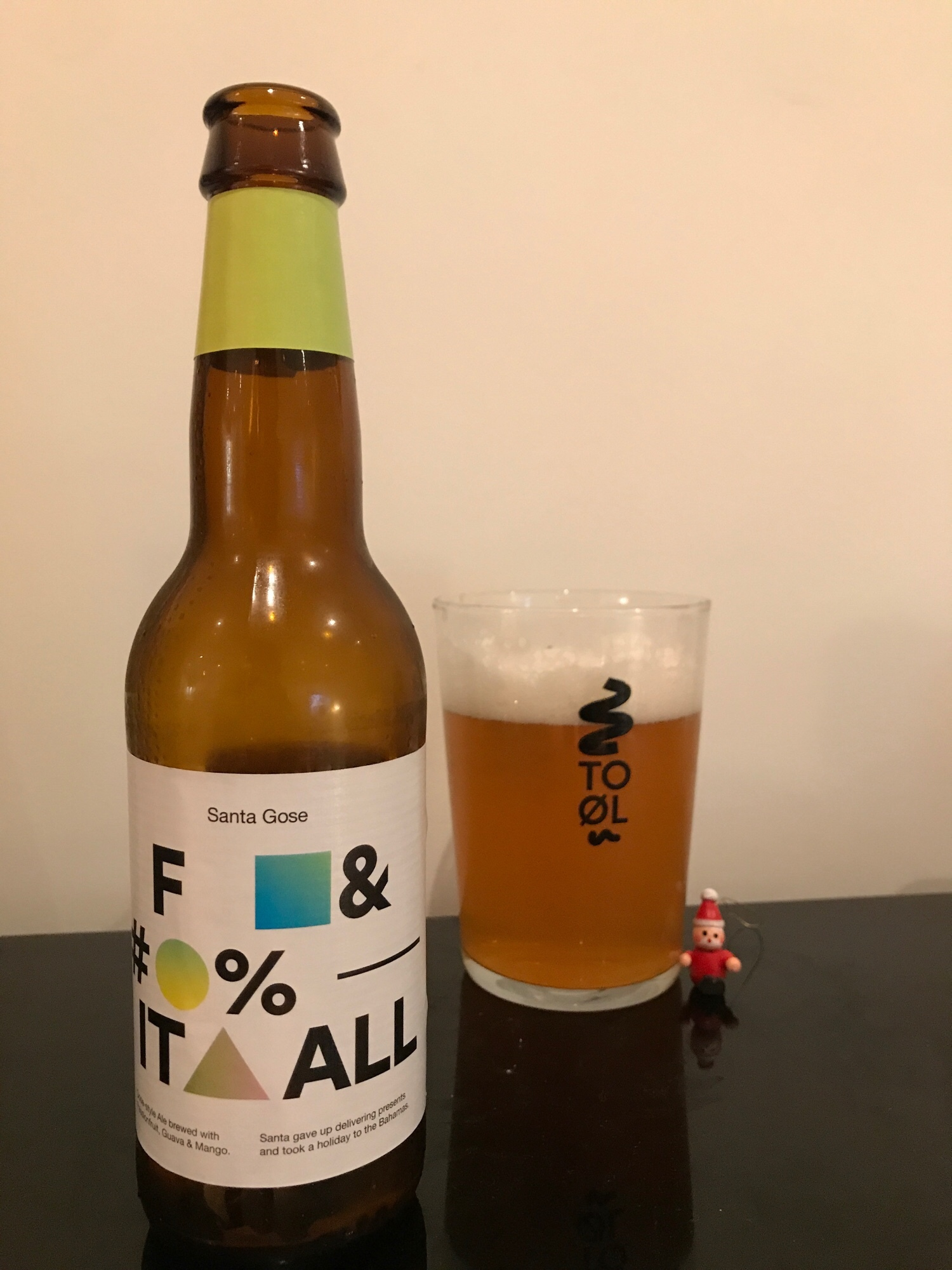 Day Fourteen: Santa Gose F&#% It All // Gose 5% - This may be Christmas themed by name but it flips your expectations on taste by making it all about the tropical fruits.There's guava and mango here but the big player is the passion fruit. It's refreshing and light and the fruits play well against the sour base of the beer.I lamented a beer earlier for being out of season and better suited to summer and the same could be argued here but this just works. A beer suited for any occasion.I said at the start of this advent that Gose to Hollywood was one of my first forays into sour beers and still one of my favourites but I think this beer has toppled it as my favourite from these Danish wizards. Superb.