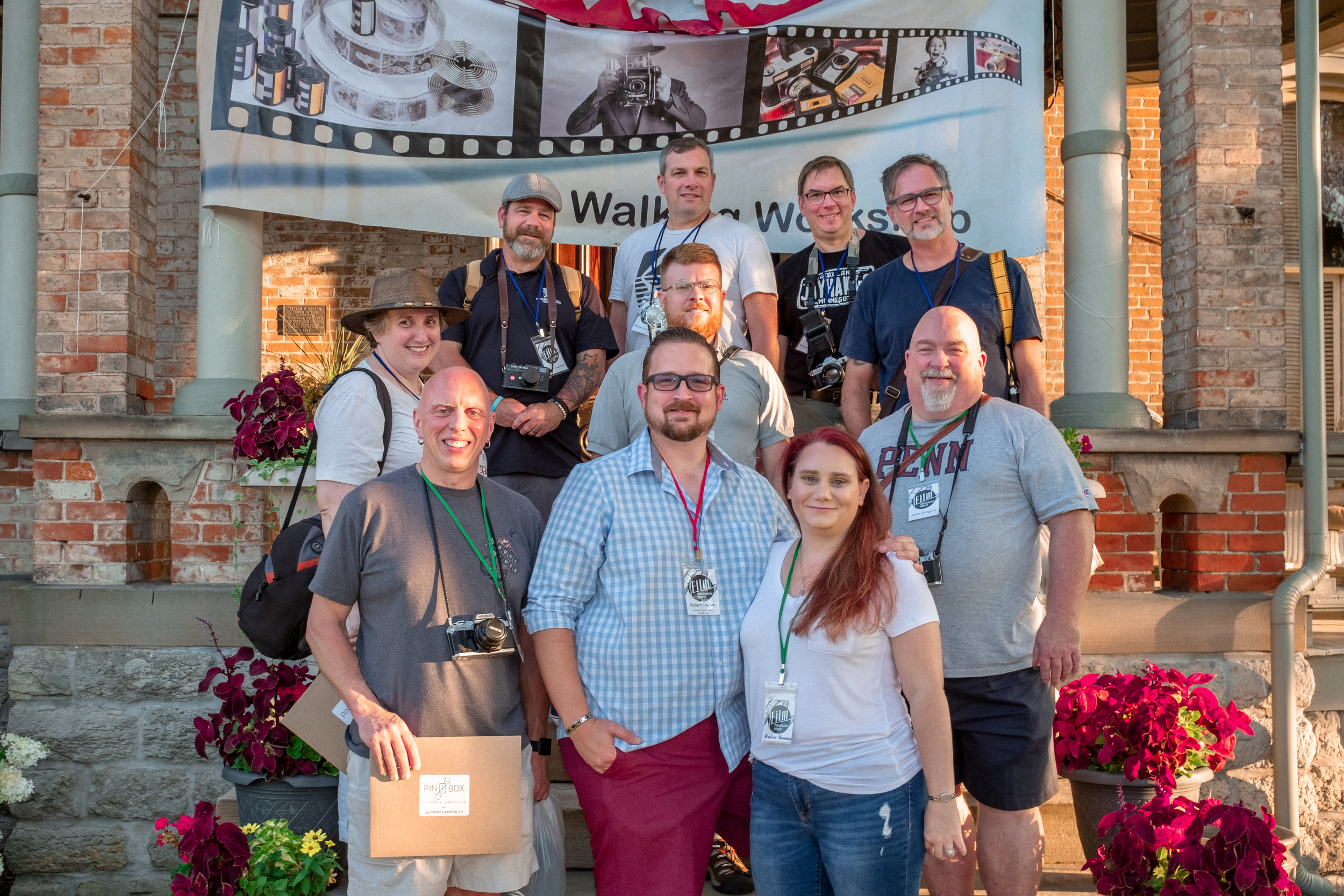 Shawn (back row, on the left) and I (front row, on the left) at the Film Photography Walking Workshop, August 2018. (Photo courtesy of Robert Hamm)