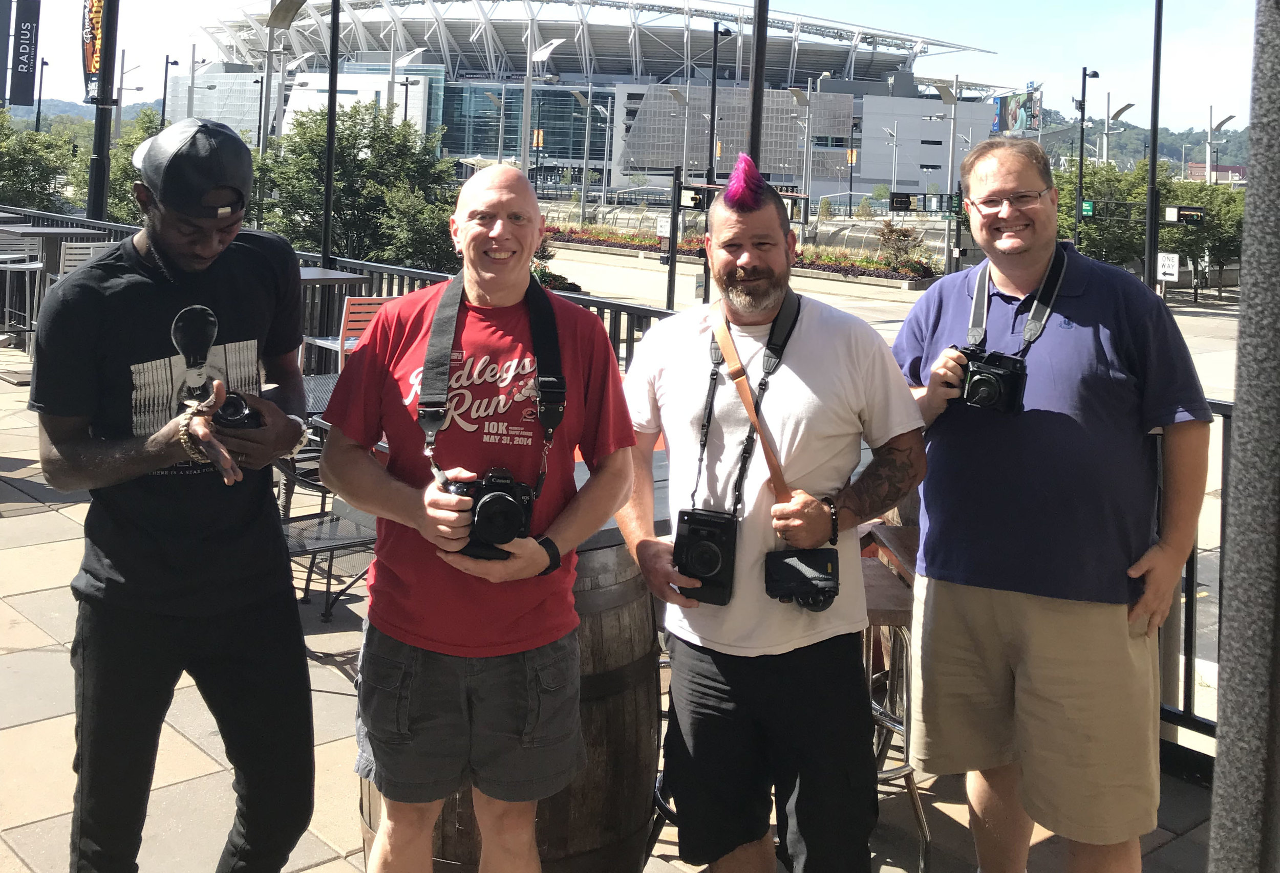 The first photowalk crew: starting from the left, Edmund, Myself, Shawn, and Austin. (Photo by Sam Warner)