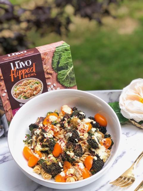 Luvo Flipped Bowl - Chicken Meatballs over Whole Wheat Pasta & Veggies in Garlic Wine Sauce