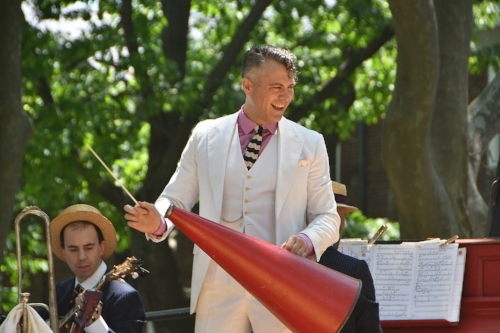 Michael Arenella and His Dreamland Orchestra   Michael Arenella is a musician, crooner, bandleader and impresario best known for leading his Dreamland Orchestra at his Jazz Age Lawn Party on New York's Governors Island. Michael's love of Jazz Age culture inspired him to throw the first Jazz Age Lawn Party in 2005 for an intimate group of friends and fellow torch carriers of a bygone era. While first timers might have thought it a historical reenactment, to Michael, his orchestra and his admirers it was all genuine. For Michael, the Jazz Age never really ended, it just fell asleep. Today, he reawakens it wherever he plays. Now, whether on Governors Island or South Beach, this living legacy is again vital within the zeitgeist of the present.