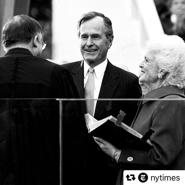 We have lost an exemplary public servant and American in George HW Bush. His memory reminds us how we can serve this great country with dignity and pursuing the best for all our fellow Americans, not just those of our own stripes. Our hearts are with the entire Bush family. ——————— #Repost @nytimes  George Bush, the 41st president of the United States and the father of the 43rd, died on Friday night at his home in Houston. He was 94. Bush steered the nation through a tumultuous period in world affairs, but was denied a second term after support for his presidency collapsed under the weight of an economic downturn and his seeming inattention to domestic matters. His death, which was announced by his office, came less than 8 months after that of his wife of 73 years, Barbara Bush. He had a form of Parkinson's disease that forced him to use a wheelchair or motorized scooter in recent years, and he had been in and out of hospitals during that time as his health declined. Bush, a Republican, was a transitional figure in the White House, where he served from 1989 to 1993, capping a career of more than 40 years in public service. #nytimes photographer Jose R. Lopez took this photo of Bush during his inauguration on Jan. 20, 1989. Visit the link in our profile to read his obituary.