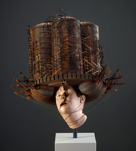 "The Haunt, 2014, basswood, poplar, steel, bending plywood, resin, rope, human hair, various polychrome, 44"" x 22"" x 20"""