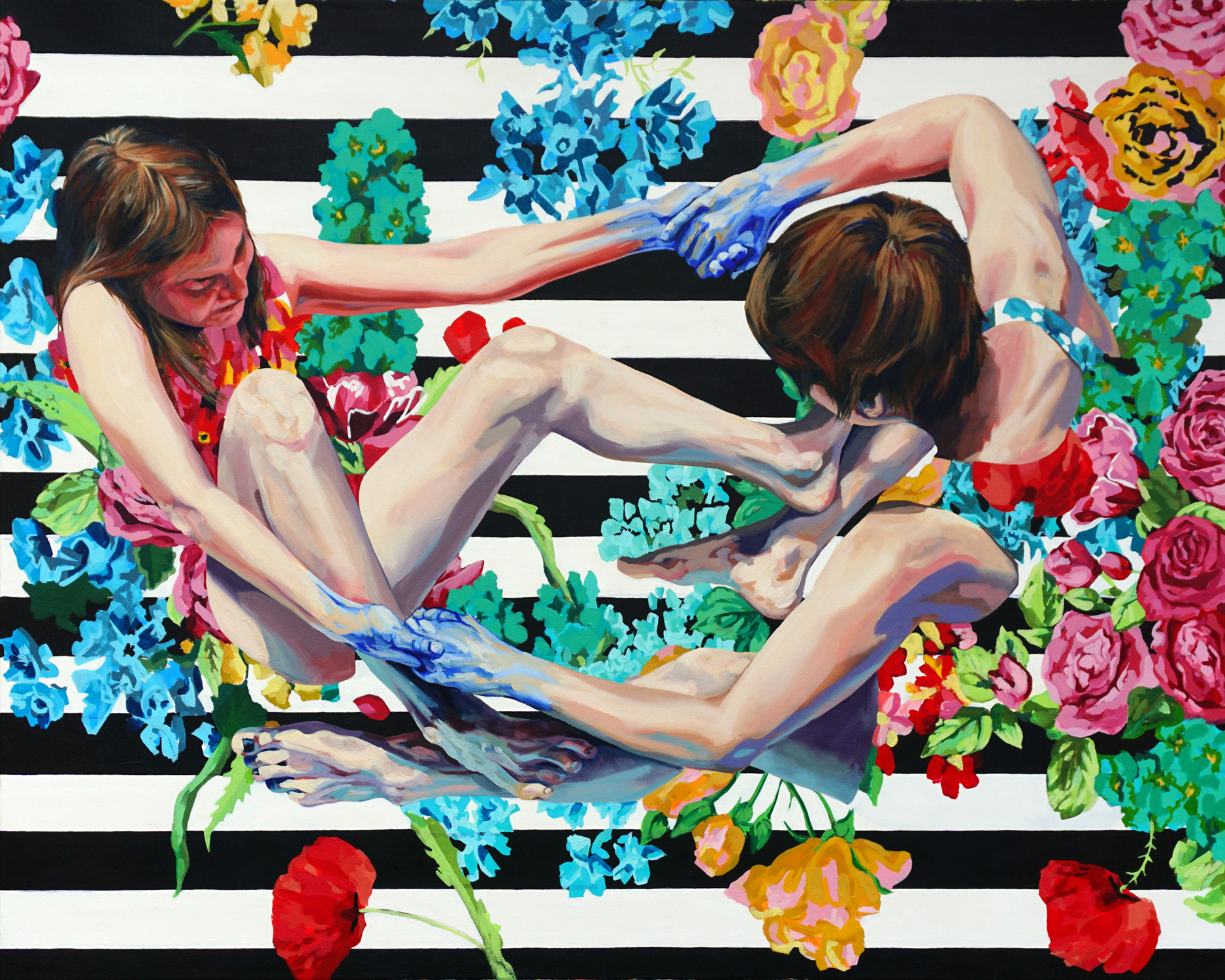 "We Strive , 2017, oil and acrylic on canvas, 48"" x 60"""